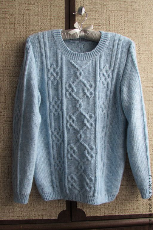 Кофты и свитера ручной работы. Ярмарка Мастеров - ручная работа. Купить пуловер нежно-голубого цвета с кельтским узором. Handmade.