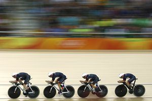 Britain's Katie Archibald, Elinor Barker, Joanna Rowsell-Shand and Laura Trott…