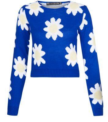 Mela Blue Daisy Print Crop Jumper