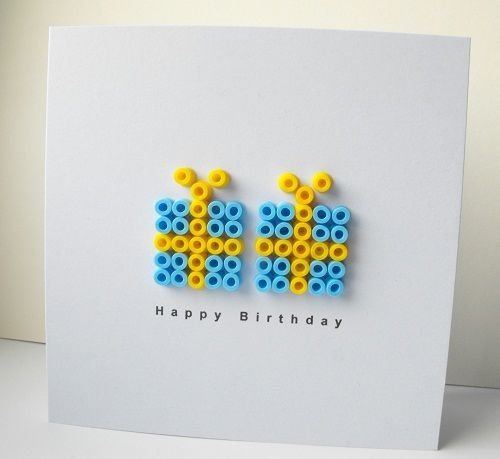 Birthday card - Have about 10,000 hama beads - maybe I should go into business making cards like these!