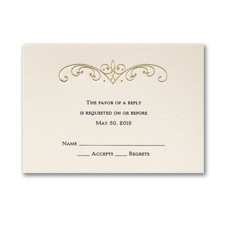 Swirl of Gold - Response Card and Envelope