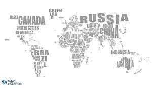 WELTKARTE: NAMEN Male deine Länder auf der Weltkarte mit Ländernamen aus.