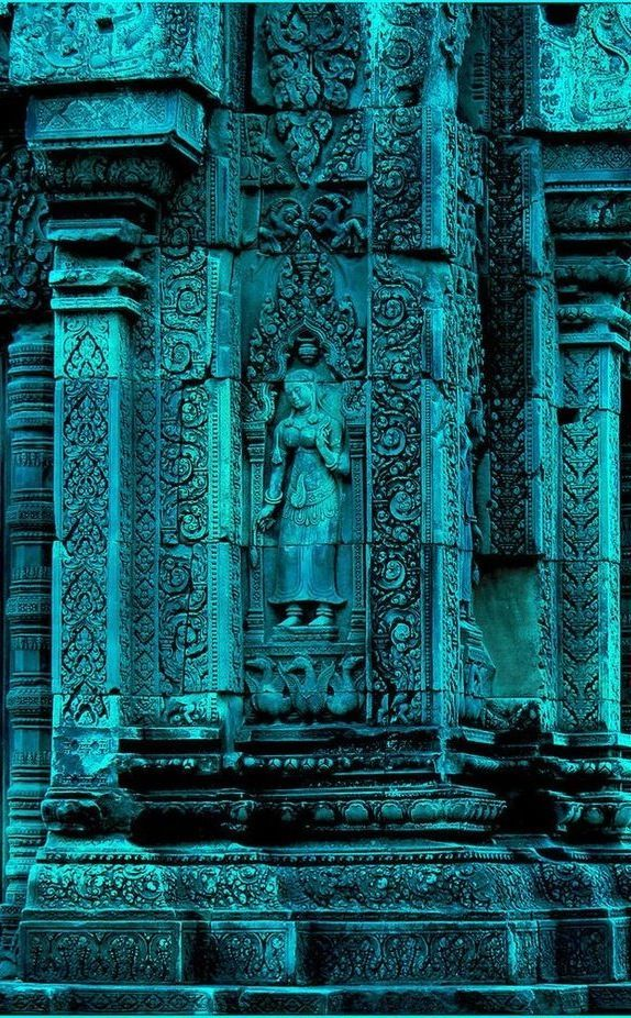 Turquoise - Banteay Srei is a 10th-century Cambodian temple dedicated to the Hindu god Shiva