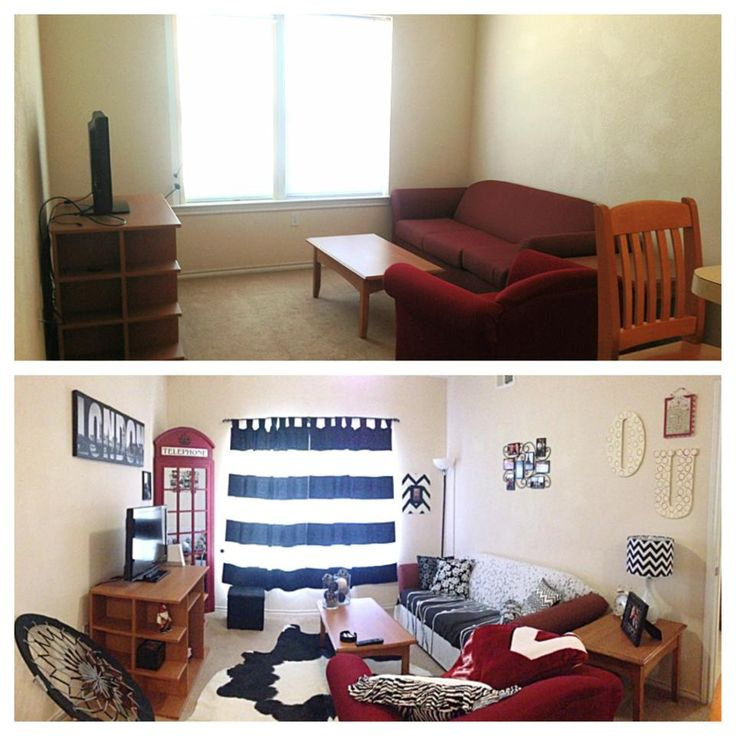 Apartment living room area --- before and after!