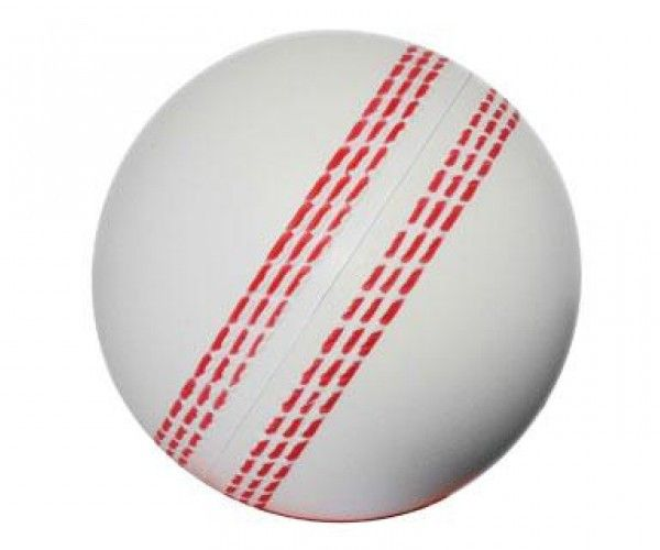 STRESS CRICKET BALL WHITE – S16  Price includes 1 color, 1 position print   2 Color imprint available for an additional charge  Decoration option: Pad print  Print Area: 30mm (D)  Product Size: 70mm (D)