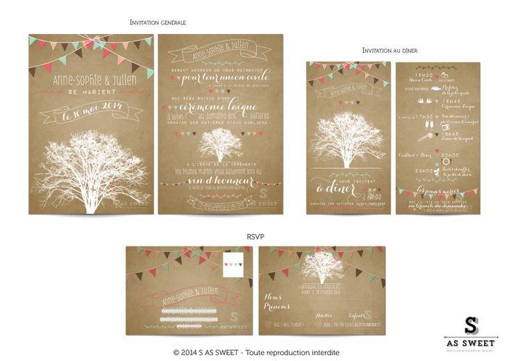 Faire part de mariage, invitation,  © 2014 S AS SWEET - Toute reproduction interdite