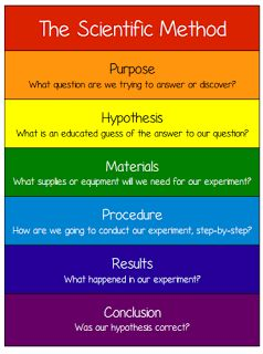 Scientific Method Poster! I would post this in my classroom in order for my students to have a bright, organized way of remembering the steps to the scientific method.