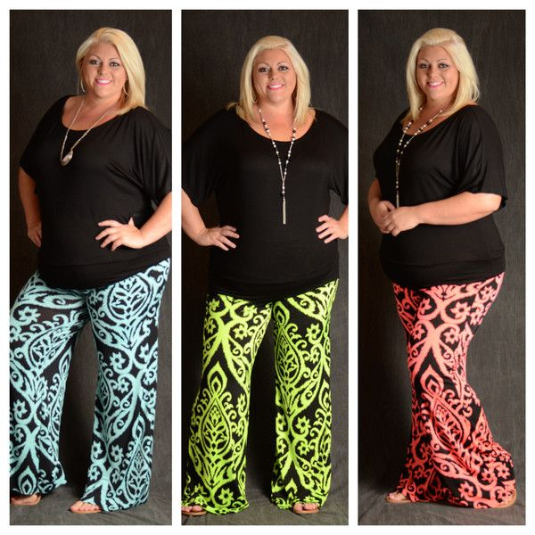 Light Blue & Gray Damask Palazzo Pants - Curvy Plus Size Boutique - 3