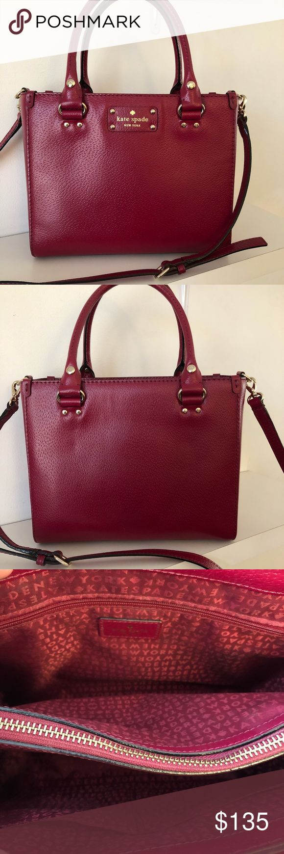 "Kate Spade Wellesley Quinn Bag Kate Spade Wellesley Quinn bag in burgundy! This bag measures 8.5"" in height and 10.5"" in length. Gorgeous bag in great condition! kate spade Bags Crossbody Bags"