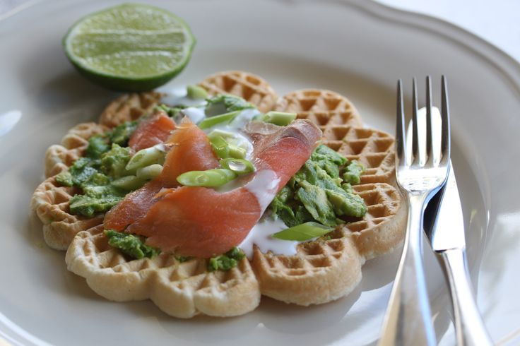 Coconut Waffles with smoked salmon and Smashed Avocado  #WhatsForBreakfast? ebook available at http://tenina.com/store