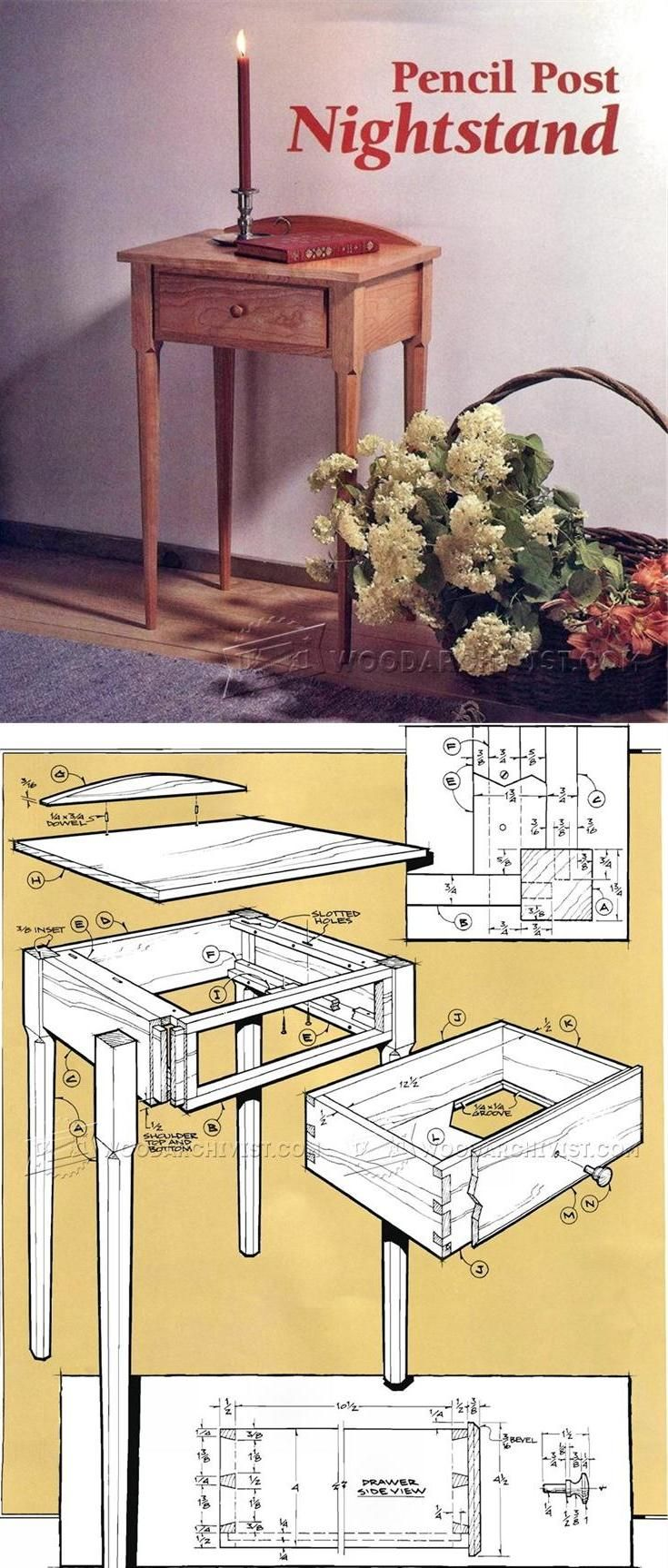 Pencil Post Nightstand Plans - Furniture Plans and Projects    WoodArchivist.com