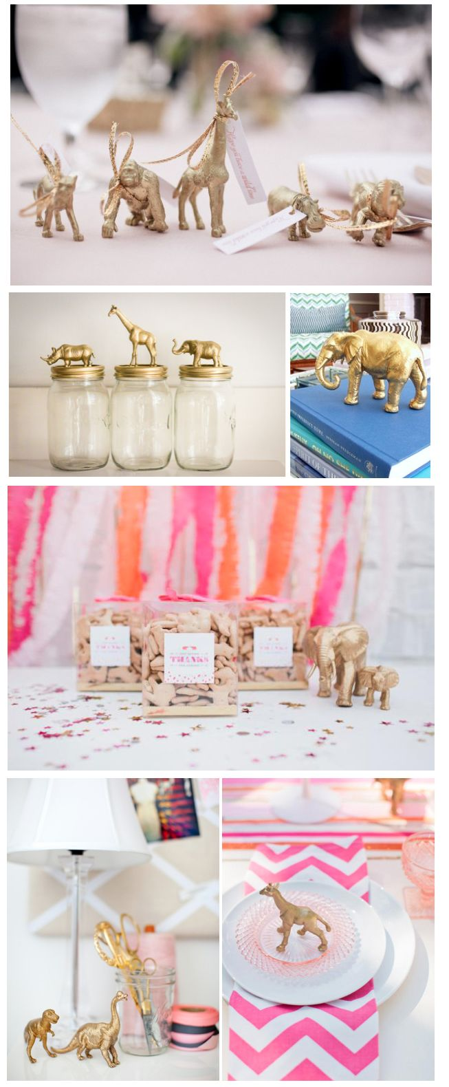 I have no idea why I would ever do this, but metallic t-rexes everywhere.... DIY Metallic Gold Animal Figurines