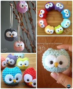 Crochet Baby Owl Ornament Free Pattern-Amigurumi #Crochet Owl Free Patterns