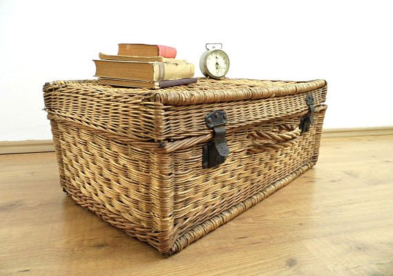 Antique Wicker Suitcase Laundry Basket Large Vintage Steamer