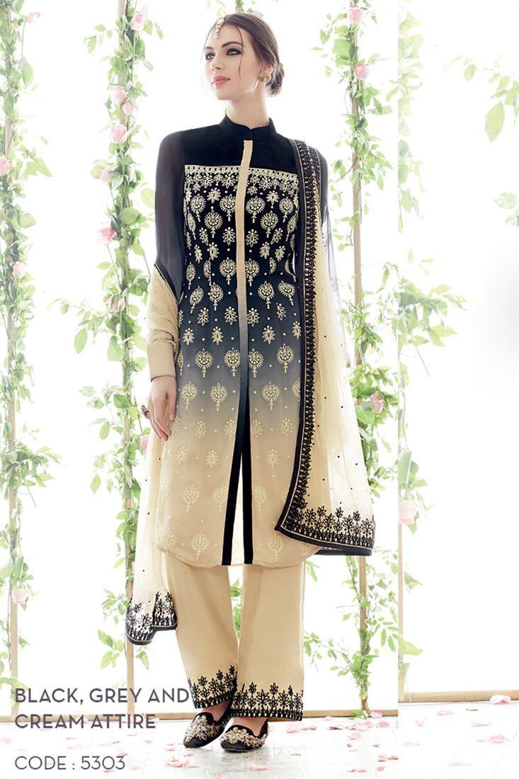 Grey And Cream Color Georgette Salwar Suit