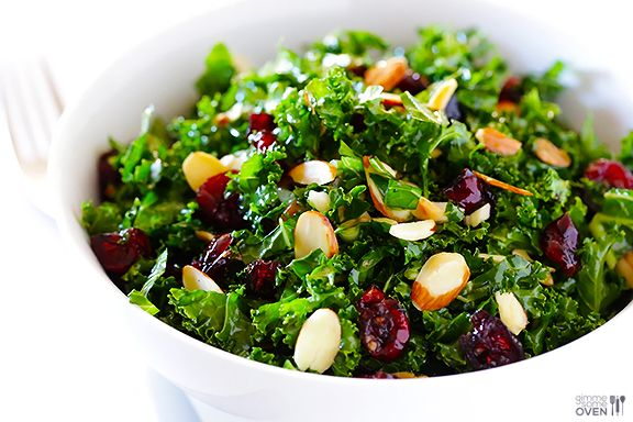 Kale Salad with Warm Cranberry Almond Vinaigrette  Prep Time: 2 minutes Cook Time: 8 minutes Total Time: 10 minutes Yield: 2-4 servings Ingr...