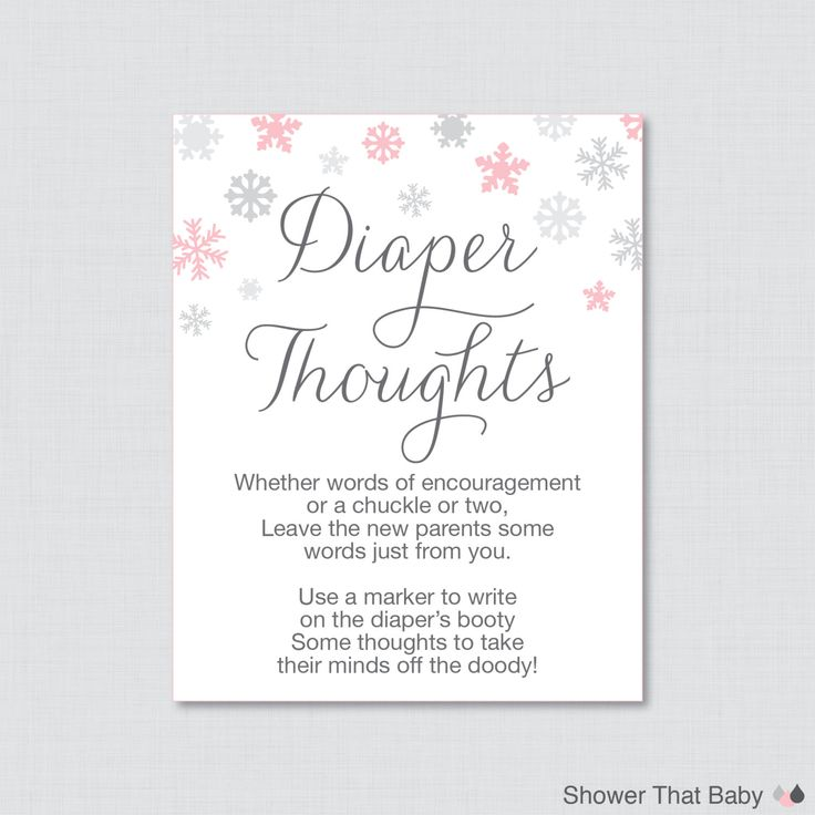Winter Baby Shower Diaper Thoughts Game Baby Shower