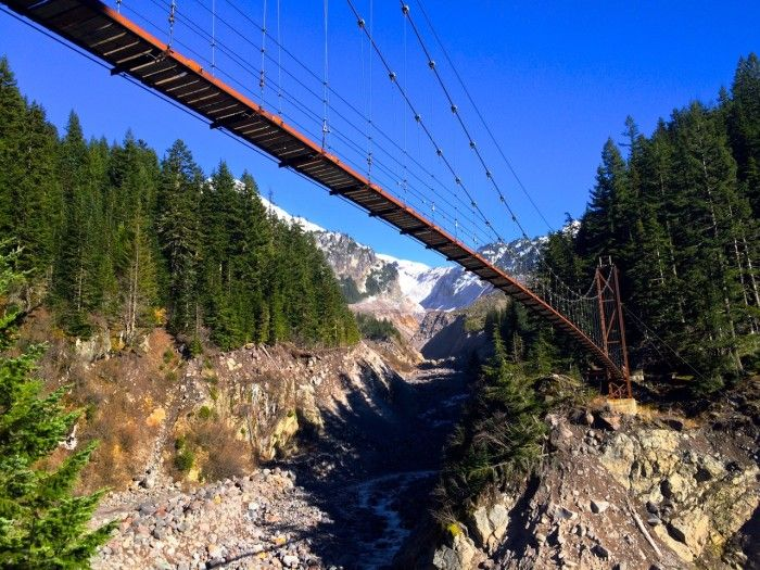 Are you brave enough to hike across this suspension bridge in Mount Rainier National Park