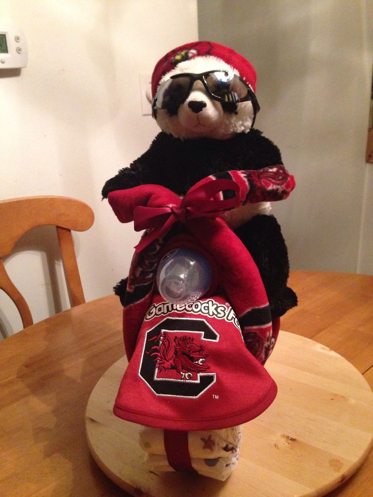 Baby Diaper cake Motorcycle...University of South Carolina Gamecocks