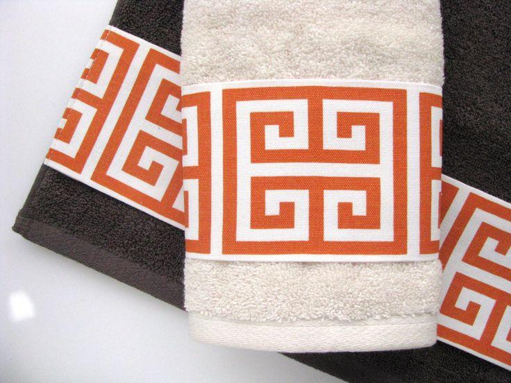 More Colors towels  towels  hand towel  orange bathroom  grey towels   charcoal towels  towels  bathroom decor  orange and grey  greek keys. 17 best ideas about Burnt Orange Bathrooms on Pinterest   Orange