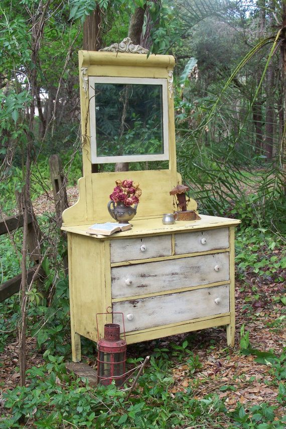 Yellow and White Distressed Dresser is not a fun dresser or what ??????