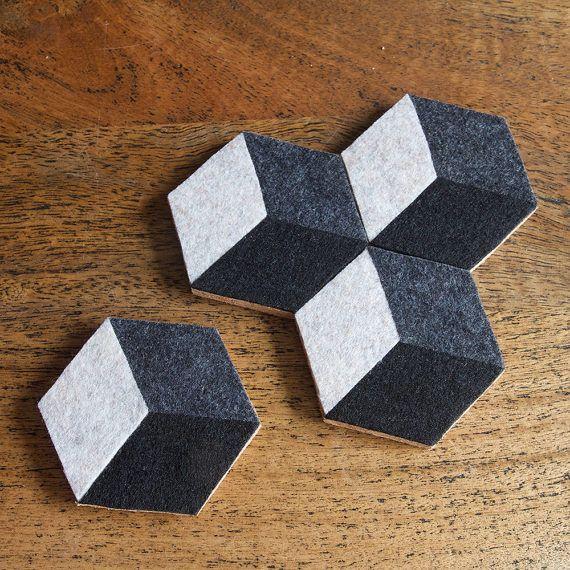 Mod Illusion Felt Coasters