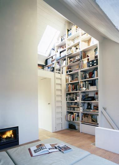 Wall of books, skylight, cushions, and a fireplace -- everything you need to curl up for an afternoon of reading