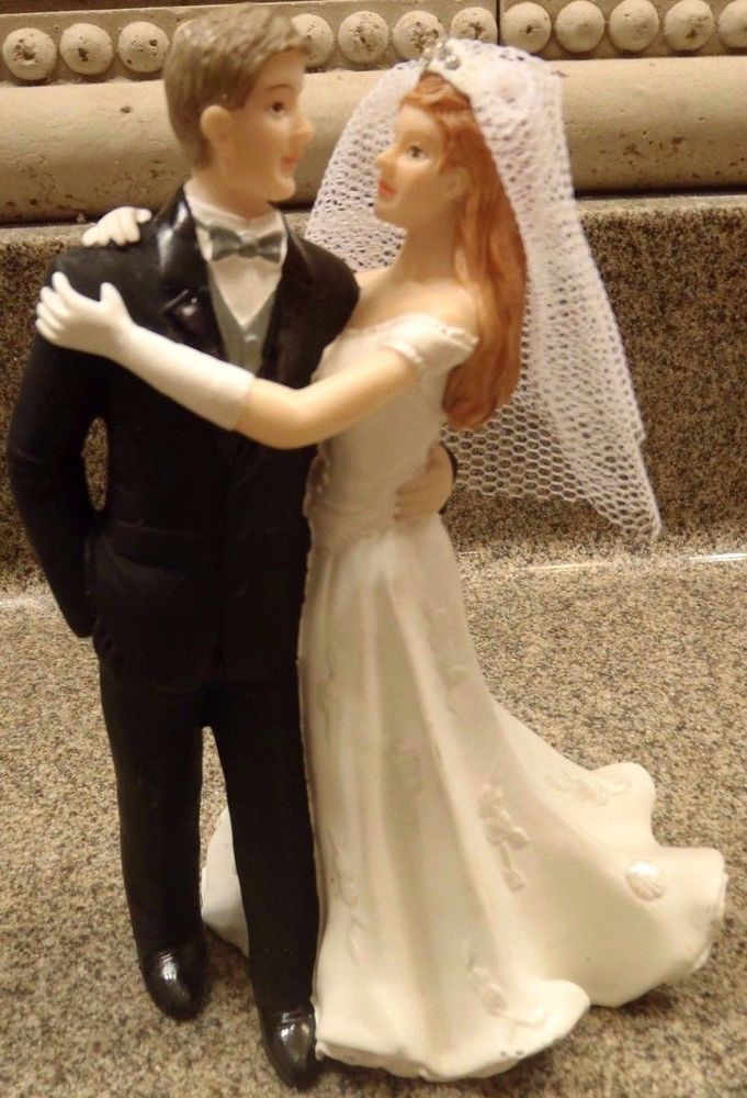 Wedding Cake Topper Red Hair Bride Brown Hair Groom Resin Figurine Decoration #unknown