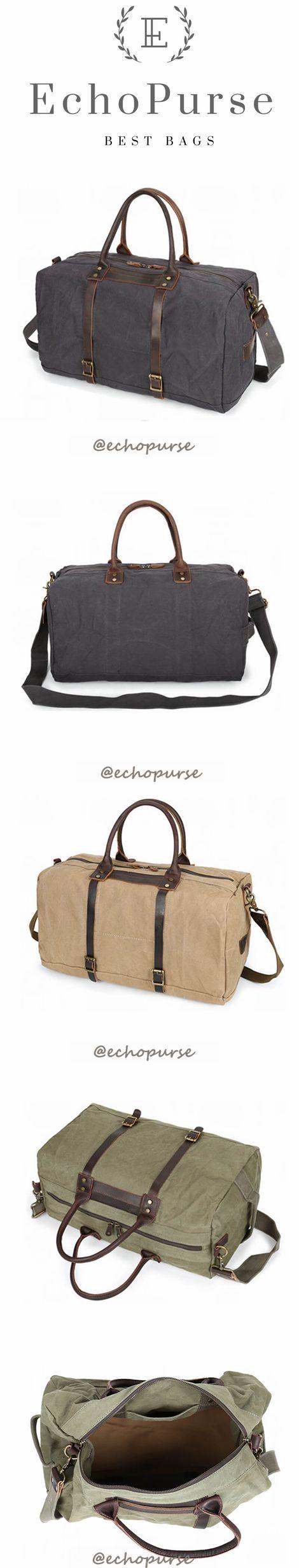 Canvas Duffel Bag, Vintage Travel Handbag, Grey Waterproof Holdall YD189