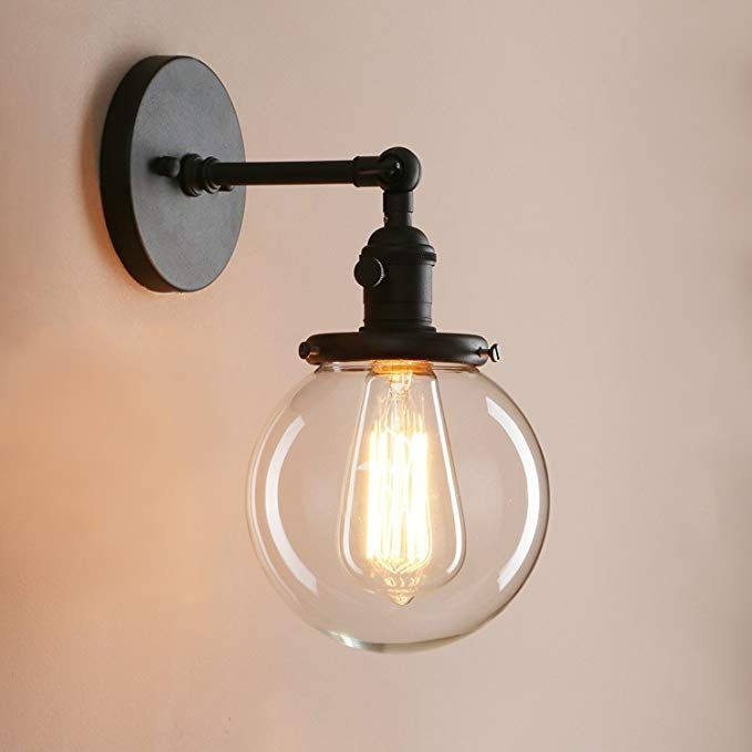 Pathson Industrial Wall Sconce With Round Clear Glass Globe Shade