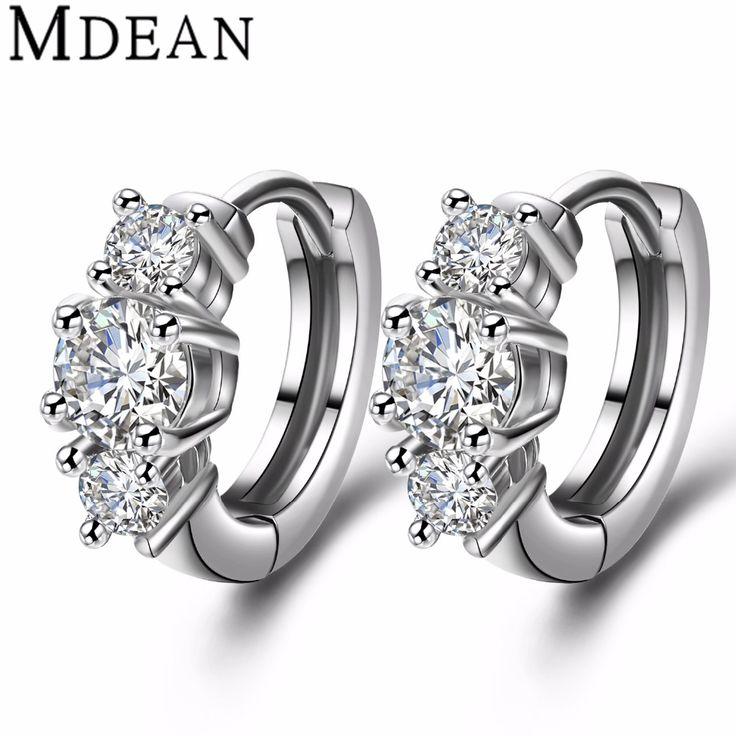MDEAN white Gold plated Brincos AAA Zircon Hoop Earrings for women wedding boucle d'oreille CZ diamond jewelry earrings MSE012