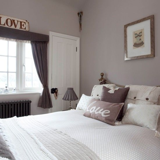 Tiny bedroom in mushroom grey | Small bedroom ideas  Love the attention to details, also the radiator is matching hue as accessories. Nice coordination