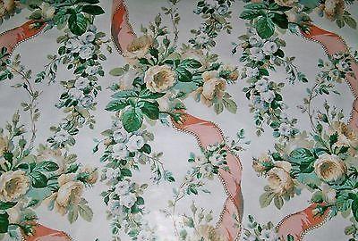 Lee Jofa Kravet Floral Shabby Roses Ribbons Toile Fabric 4 yards White Peach