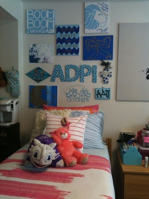 Super cute ADPi dorm decor  Phi Mu & Sorority  Pinterest  ~ 062437_Dorm Room Canvas Ideas