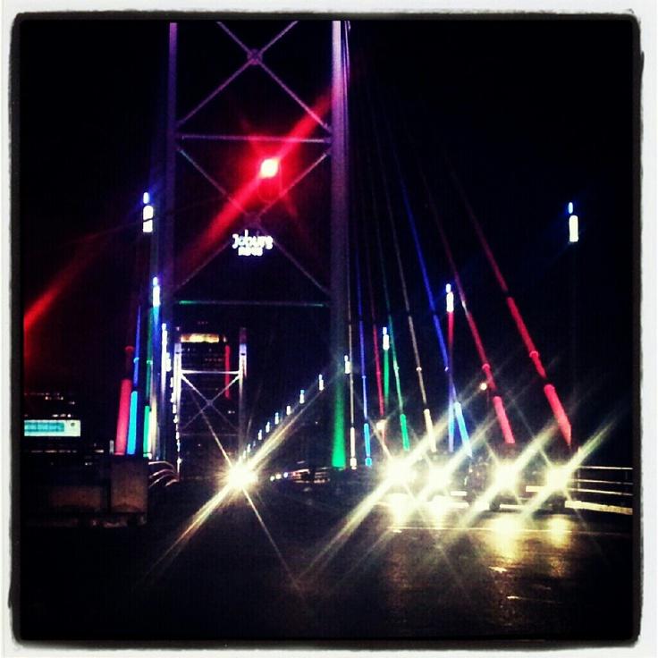 Nelson mandela bridge, Johannesburg. Olympic themed. How cool?