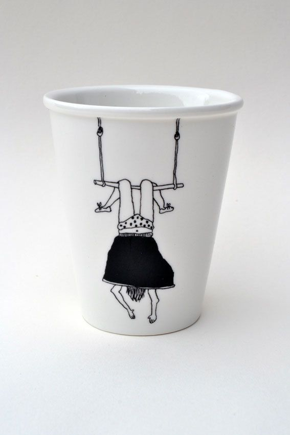 Trapeze girl  porcelain cup with handmade by helenbONETSY on Etsy