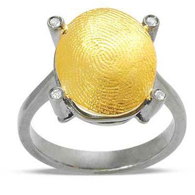 Pırlanta 18 Ayar altın Parmak İzi Yüzük, özel tasarım, parmak izi koleksiyonu, hediye