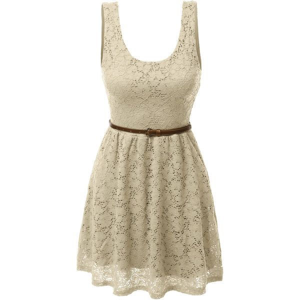 LE3NO Womens Sleeveless Lace Crochet Flared Dress ($19) ❤ liked on Polyvore featuring dresses, cocktail dresses, crochet dress, belted lace dress, flare dress and brown lace dress