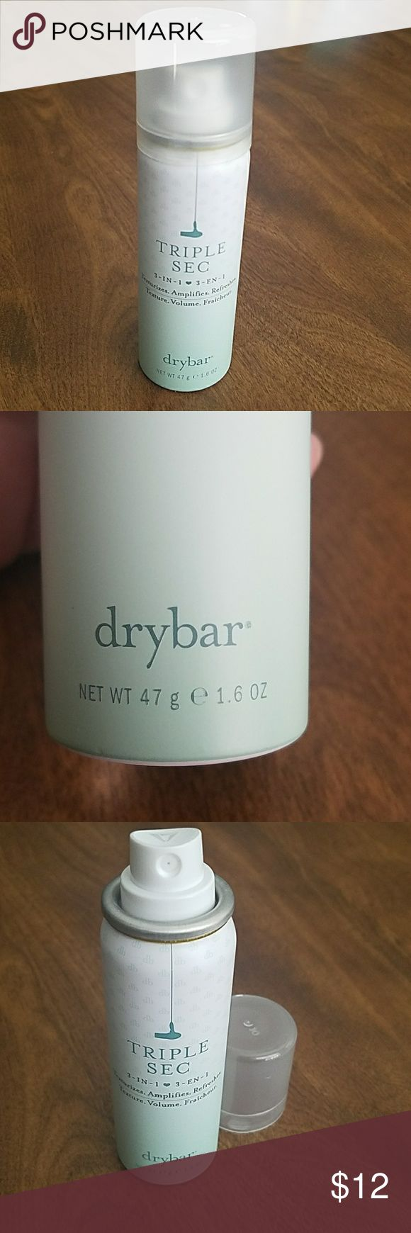 NEW drybar Triple Sec 3 in 1 dry shampoo 1.6oz This is 100% used! Drybar Triple Sec 3 in 1 dry shampoo. Texturizers, amplifies and refreshes. Smells great and gives awesome volume! This is my favorite dry shampoo ever! This was a gift but I cannot afford to keep it. This is the 1.6 oz can (travel size). The full size bottle contains twice as much at twice the price. drybar Other