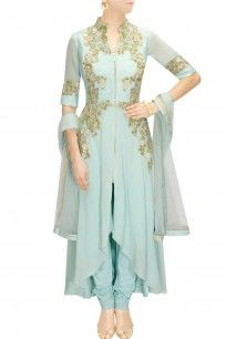 Duck egg blue embroidered high low kalidaar set