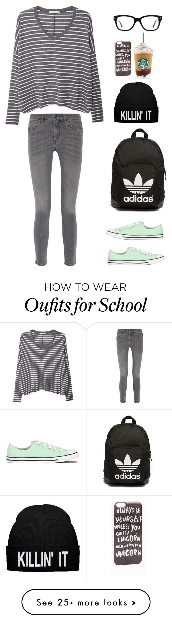 """""""School"""" by littlepumpkinelf on Polyvore featuring MANGO, MiH Jeans, Converse, JFR and adidas Originals"""