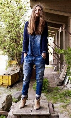 Blue jeans and boots
