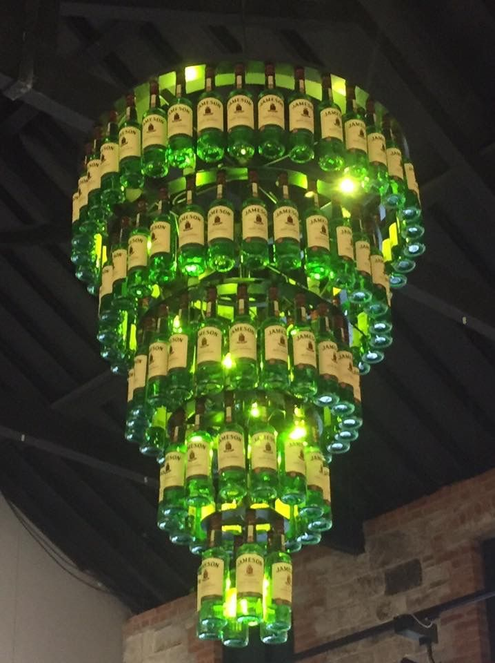 Chandelier made from Jameson bottles. How great is this?