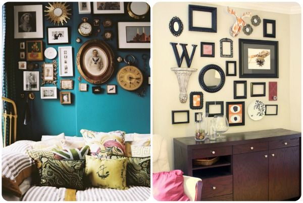 Love all the variation in these gallery walls from vintage photos to frames & plates!