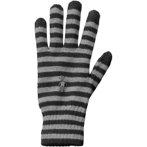 Smartwool Striped Liner Glove ($27) ❤ liked on Polyvore featuring accessories, gloves, smartwool gloves, merino gloves, striped gloves and merino wool gloves