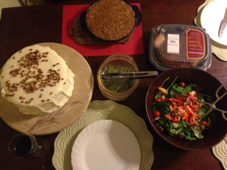 Christmas dinner 2015: turkey breast from Honey-baked Ham Company, sweet potato crunch, mixed greens salad with cucumber, red & orange bell peppers, apple, pecans, grape tomatoes, with Greek dressing, grilled asparagus, carrot cake from Wrights Gourmet