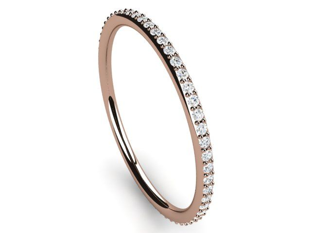Full Eternity Diamond Ring round thin band 0.22ct Si2/H Rose Gold 18K Hallmarked - Paul Jewelry