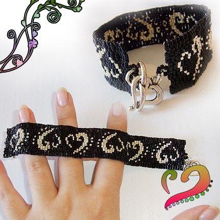 Black and Silver Glass Beads Bracelet Dicope par dicopebisuteria