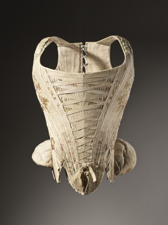 Woman's Corset  France, circa 1730-1740  Costumes; underwear (upper body)  Silk plain weave with supplementary weft-float patterning  Center back length: 16 1/2 in. (41.91 cm)  Gift of Mr. Jack Cole (63.24.5)