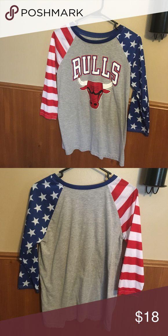 NBA Bulls America shirt Chicago Bulls juniors quarter length tshirt! America! Never worn so cute from Rue 21! Size Medium Rue 21 Tops Tees - Long Sleeve